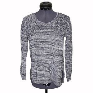 Roxy Salt & Pepper Heathered Knit Scoop Sweater